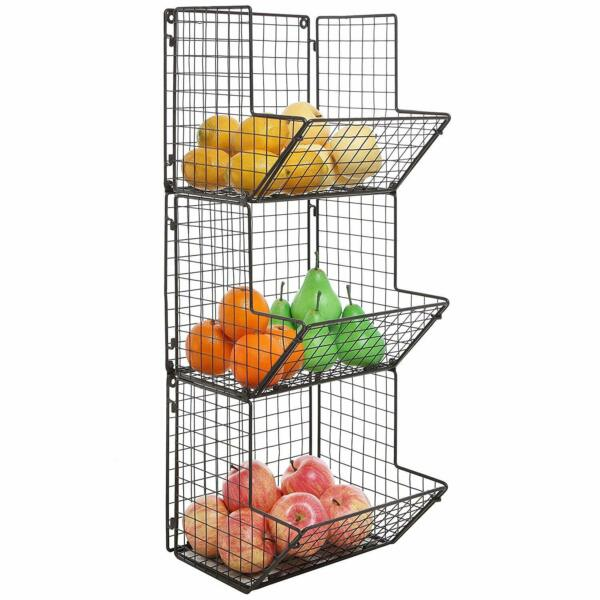 Rustic Dark Brown 3 Tier Wall Mounted Produce Basket Kitchen Organization Rack