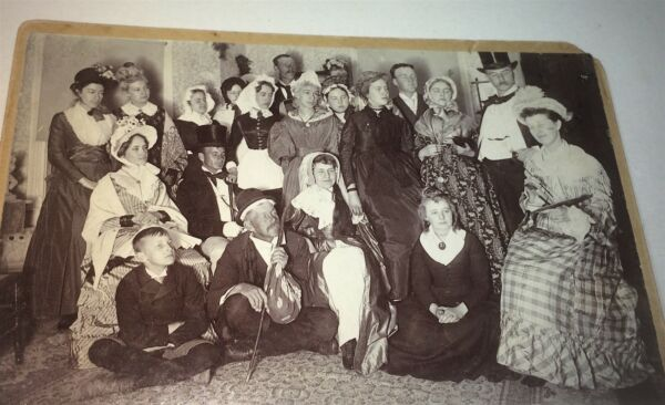 Rare Antique Victorian American Costume Fashion Large Group! Cast Cabinet Photo!