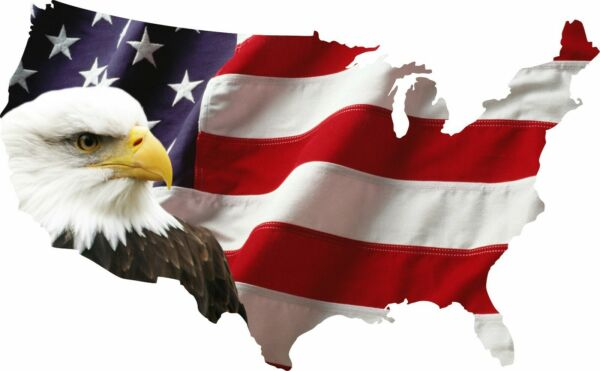 USA Bald Eagle American Flag Sticker Car Truck Laptop Window Decal Bumper