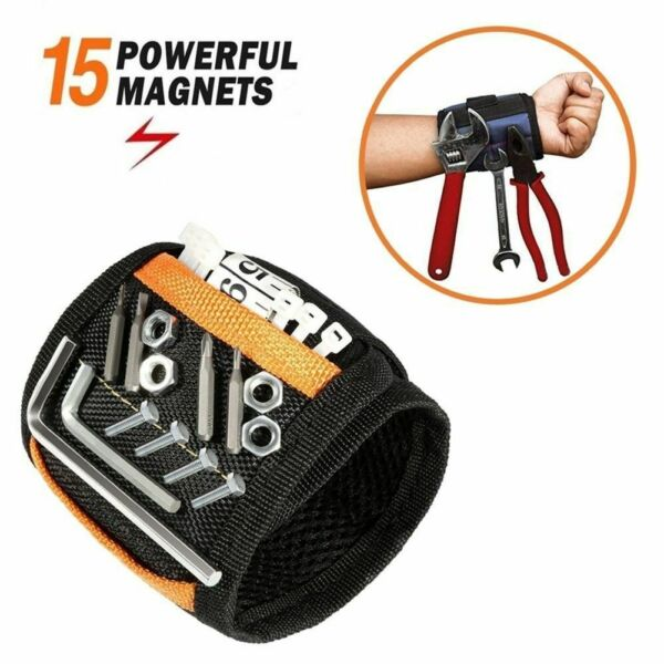 Magnetic Wristband with 15 Strong Magnet for Hold Small Tools Screws Nails New
