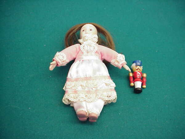 American girl Pleasant Co Bisque Small doll pink dress wood nutcracker