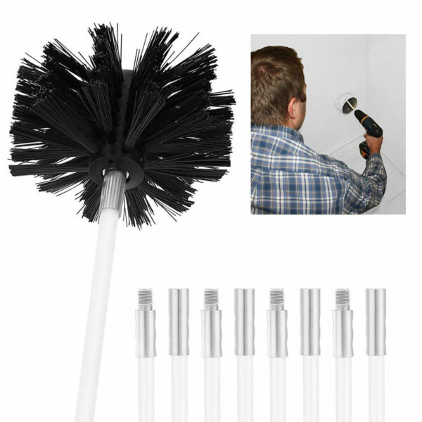4 inch Round Stiff Spring Wire Fireplace Chimney Sweep Cleaning Brush 4 Rods Set
