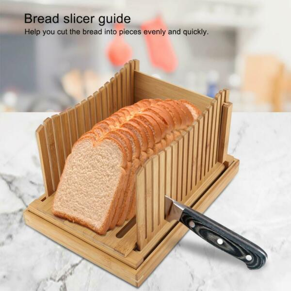 Bamboo Bread Slicer Toast Guide Cutter Slicing Cutting Sheet Tool Kitchenware US