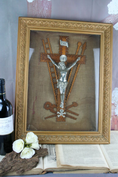 Large religious Crucifix tramp art wood carved Wall framed behind glass christ