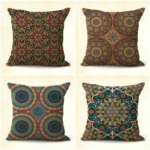 set of 4 ethic mandala medallion patio furniture cushion covers $31.99