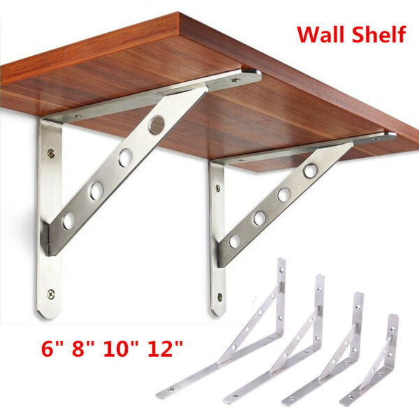 2Pack Stainless Steel Wall Mounted Shelf Bracket L-Shaped Heavy Duty Supporter