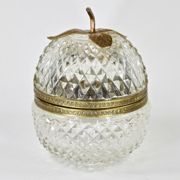 Antique Box in apple shape clear crystal cut in diamond pattern hinged lid