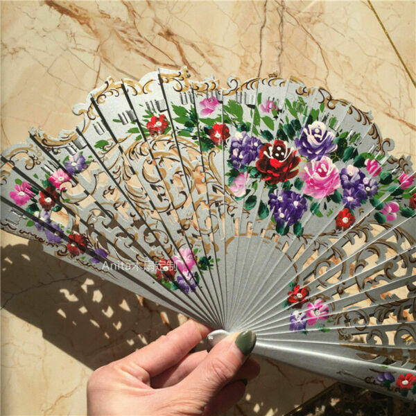 Wood Fans Custom Dance Fans Hand Painted Spanish Style Fans Wedding Gift $22.21
