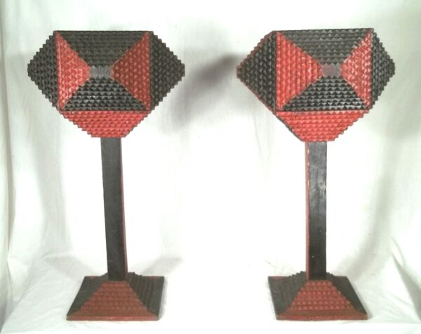 A GREAT PAIR OF CHIP CARVED TRAMP ART PLANTERS IN ORIGINAL RED+BLACK PAINT