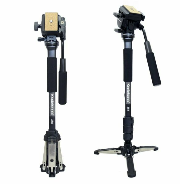 Professional Camera Monopod Fluid Video Head with Folding Feet Support Stand