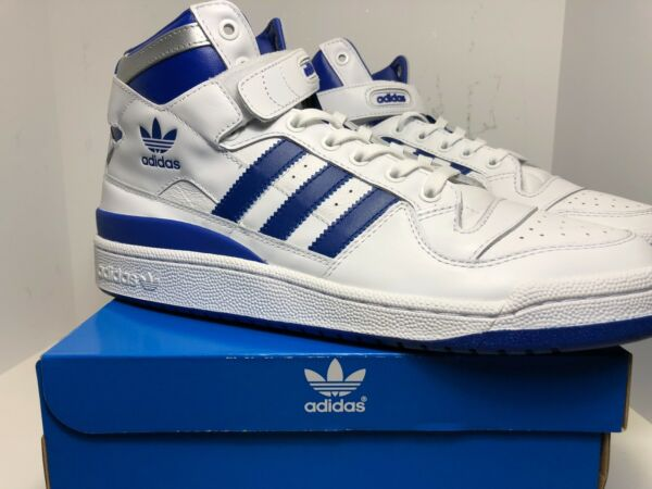 F37830 NEW MEN ATHLETIC SHOES ADIDAS FORUM MID REFINED TOP TEN WHITE BLUE RETRO