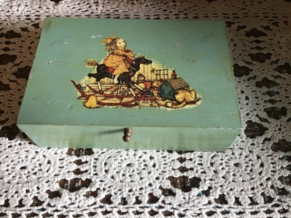 "VINTAGE Handmade ""Antique Toys"" Cat Lovers Decoupage Wooden Trinket Box 6"" x 4"""