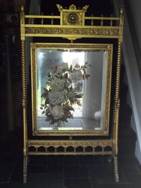antique mirror Fireplace hand painted screen Antique.gold wood frame 1800's