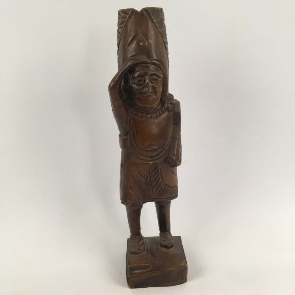 Carved 12quot; Wood Non Native American Chief Tribal Person Figure Figurine Statue $10.99