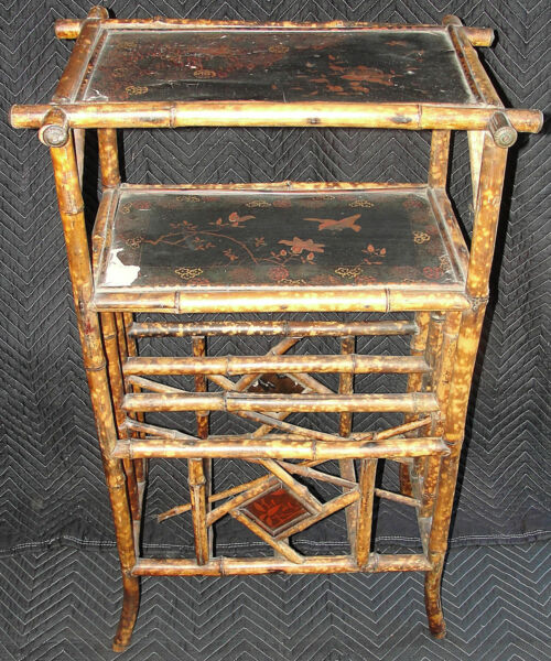 Antique Victorian English Chinese Japanese Bamboo Pyrography Canterbury Etagere
