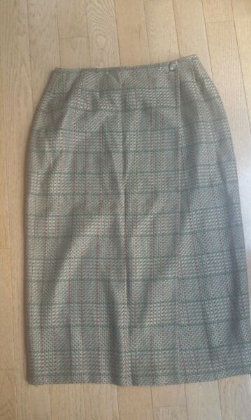 Harris Wallace Brown Plaid Long Wrap Style Skirt Size 12 Rayon Wool Blend Lined