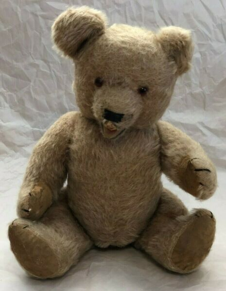 OLD ! ADORABLE VINTAGE TEDDY BEAR MOVABLE POSEABLE LEATHER FEET AND PAWS