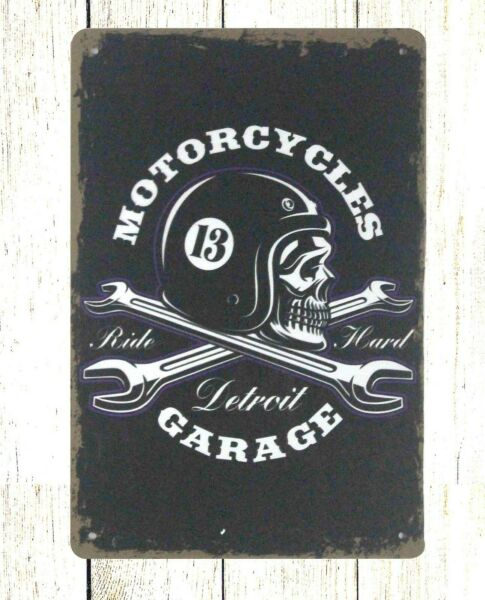 Motorcycles detroit garage wrench tin metal sign old signs