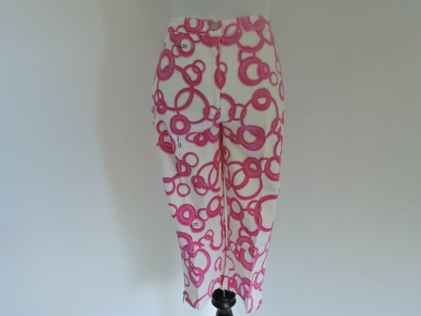 WOMEN#x27;S NEW ICE JEANS BY ICEBERG ITALY WHITE PINK CHAIN DETAIL CROPP PANTS SZ 40 $39.99
