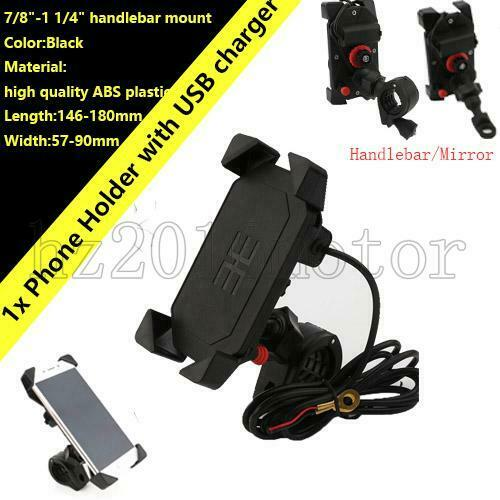 Motorcycle Handlebar Cell Phone Mount Holder w USB Charger for Smartphone