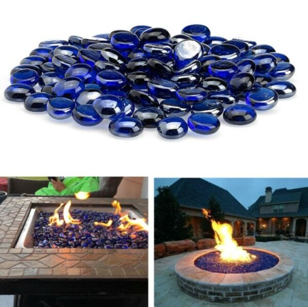 Premium Reflective Blue Fire Glass Fireplace Beads Fire Pit Drops Rocks 10 lb