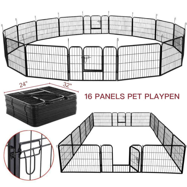 Heavy Duty Metal Cage Crate Pet Dog Exercise Fence Playpen Kennel 16 Panel