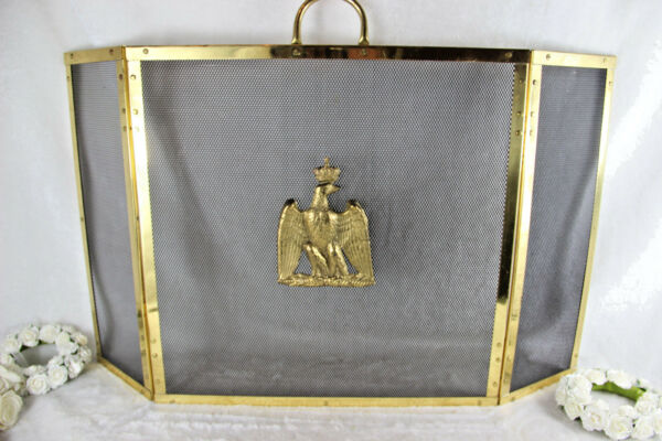 French Mid century 1970 Eagle brass Fireplace screen empire