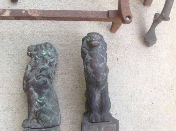 Vintage Pair of Brass Lion Fireplace Andirons with Medieval Cross Coat of Arms