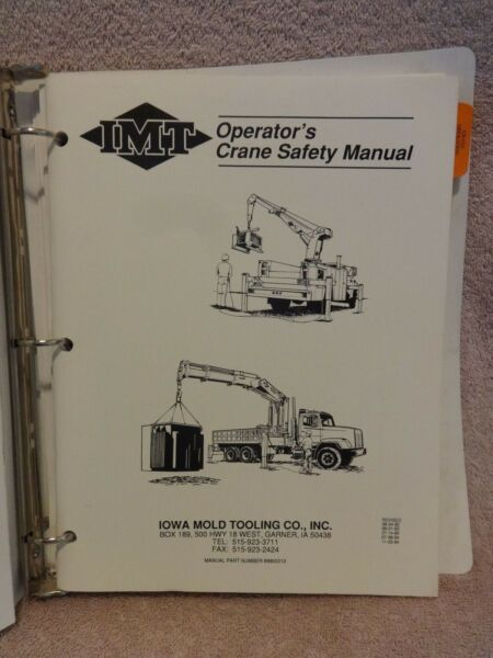 IOWA MOLD & TOOLING 1014 CRANE SAFETY MANUAL OPERATION MAINT PARTS & REPAIR