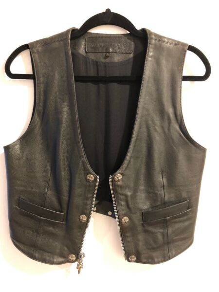 CHROME HEARTS Authentic Vest Black Leather Sterling Silver Corset Women's Large