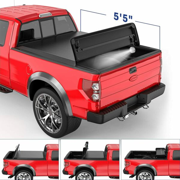 5.5FT 4-FOLD Truck Bed Tonneau Cover Soft Folding For 2015-2020 Ford F150
