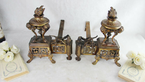 PAIR Huge  Bronze antique Fireplace andirons putti heads lion ram paws rare
