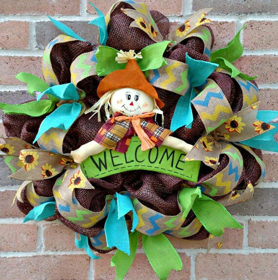 Premium Scare Crow Every Day Welcome Deco Mesh Door Wreath  26x24 Floral