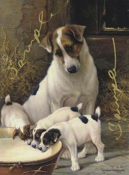 Dog and Puppies vintage style print $10.65