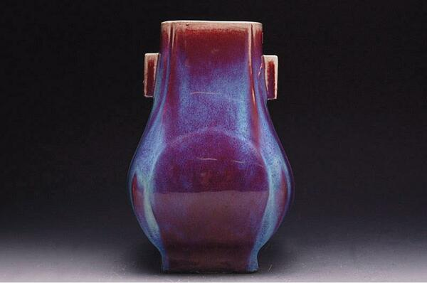 Chinese Qing Fanghu Flambe-Glazed Square Vase 6 Character Incised Qianlong Mark
