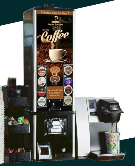 COFFEE K-CUP VENDING SYSTEM. INCLUDES K-CUP VENDING MACHINE AND KEURIG BREWER
