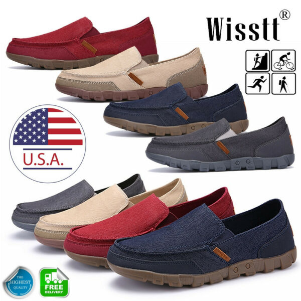 Mens Minimalism Driving Loafers Canvas Breathable Slip On Penny Shoes Casual FO