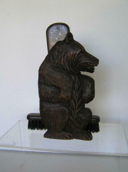 Vintage Large Black Forest Wood Carved Bear Double Brush Holder 8quot; x 6quot;