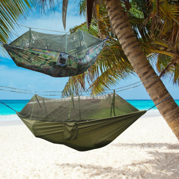Military Jungle Hammock Mosquito Net Camping Travel Parachute Hanging Bed Tent $26.39