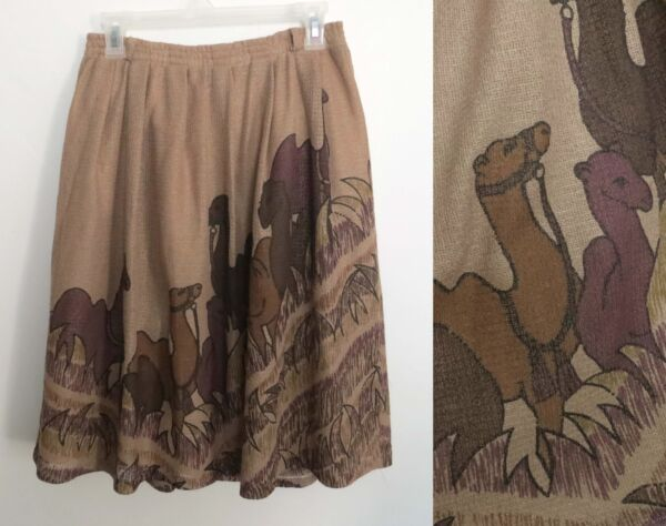 Camel safari animal graphic tan a line burlap skirt with lining women size SMALL
