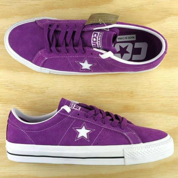 Converse One Star Pro Ox Purple White Suede Skating Shoes 161523C Multi Size