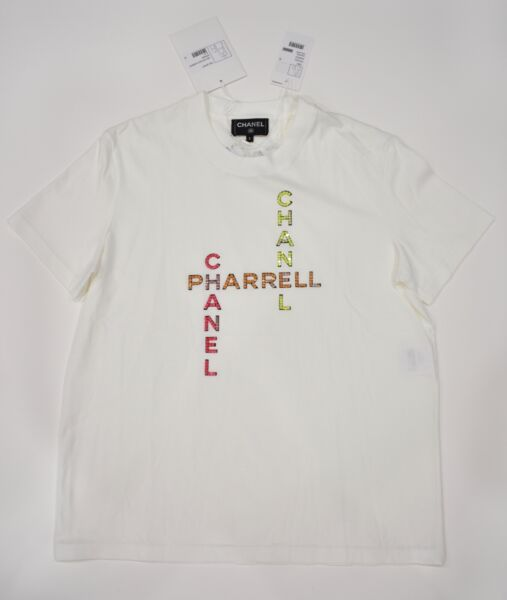 Chanel X Pharrell Capsule Collection White Short Sleeve Crystal Tee Shirt RARE S