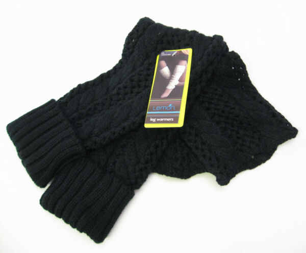 Lemon Cuffed Lacy Knit Leg Warmers Boot Toppers Black - NEW