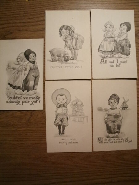 Artist Signed Vintage postcard Bernhardt Wall 5 Card Lot