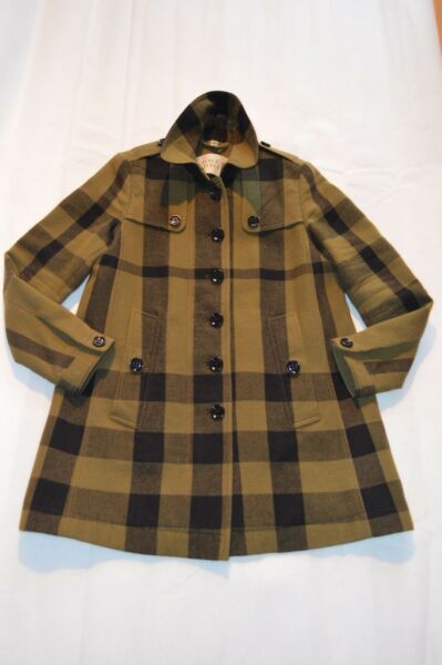 Burberry Green Nova Check Wool Button Zip Trench Coat Jacket Womens UK 8 US 6 GBP 425.00