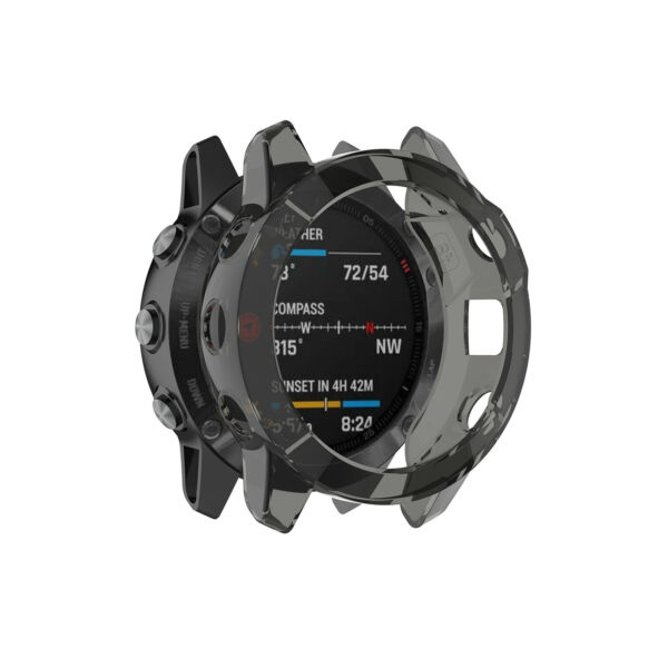 For Garmin Fenix 6S66X Pro Smart Watch TPU Silicone Half Pack Protective Case