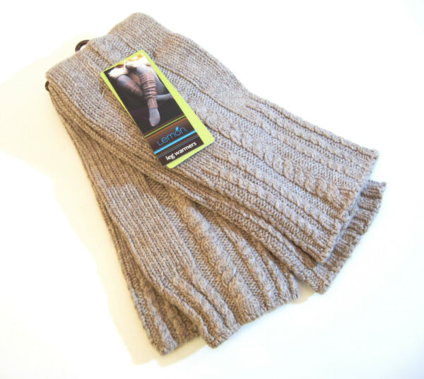Lemon Knit Leg Warmers Boot Toppers Biscuit Brown - NEW