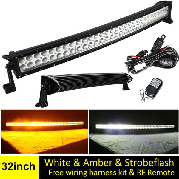 32INCH AmberWhite Dual Color Led Curved Light Bar Strobe Warning