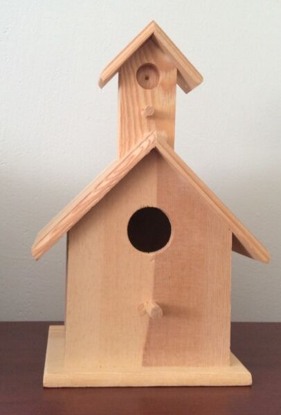 Large Natural Unfinished Wooden Free Standing Bird House Steeple Roof DIY Craft $12.99