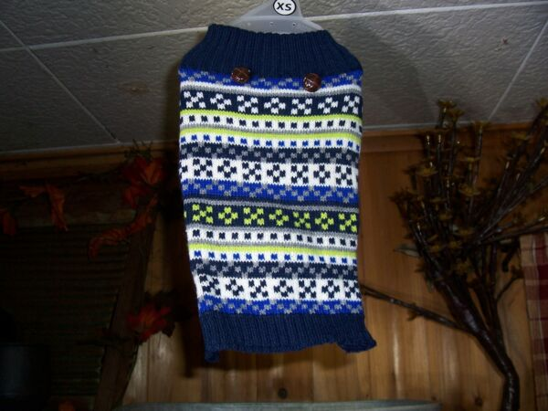 SIMPLY DOG DOG SWEATER VEST SIZE XS 12 14 INCH CHEST GIRTH MULTICOLOR BLUE WHIT $15.99